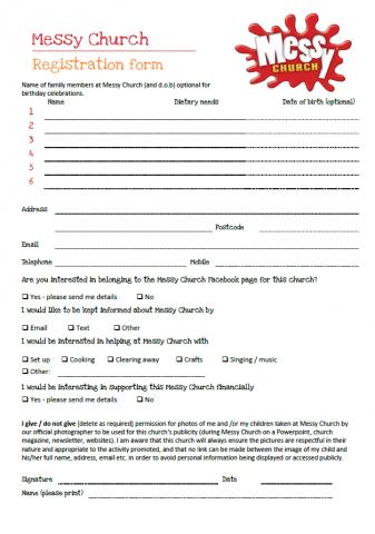 Registration form | Messy Church