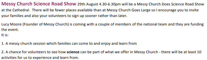 Messy Church Does Science Roadshow Newcastle